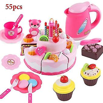 Toy kitchens play food pink-55pcs role play birthday cake food cutting set kids toy