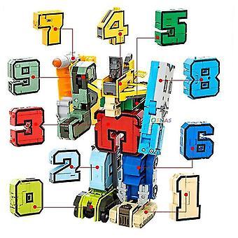 Wooden blocks magic numbers creative blocks assembling educational blocks action figure transformation robot