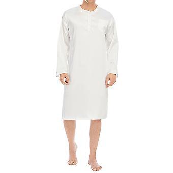 Yunyun Men's Sleepwear Solid Color Long Sleeves Casual Button Pajamas Robe Nightdress