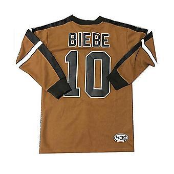 Men's Hockey Jersey #10 Biebe Ice Hockey Jerseys Brown Color Size S-xxxl