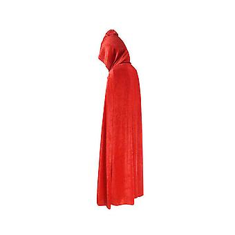 Adult Halloween Velvet Cloak Cape Hooded Medieval Costume Witch Wicca Vampire Halloween Costume Dress Coats Red