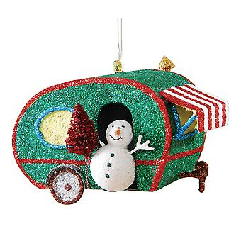 Glitter Retro Teardrop RV Camper Snowman Metal Christmas Holiday Ornament