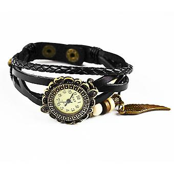 Boolavard® TM Wing Quartz Fashion Weave Wrap around Leather Bracelet Women Wrist Watch