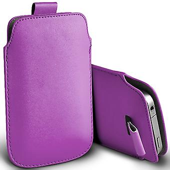 Huawei Honor Bee Slip In Pull Tab Faux Leather Pouch Case Cover (Purple)
