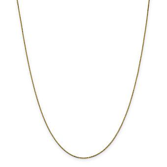 14k Yellow Gold Solid Polished .9mm Box Chain Necklace With Spring Ring - Length: 14 to 30