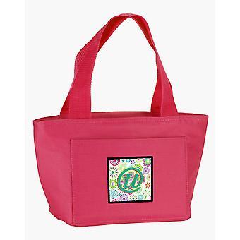 Litera U kwiaty różowy turkusowy zielony początkowe Lunch Bag