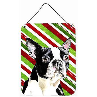 Boston Terrier férias Natal alumínio Metal parede ou porta-impressões de suspensão