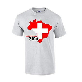 Switzerland 2014 Country Flag T-shirt (grey)
