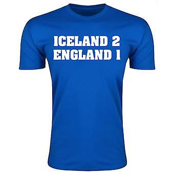 Island 2 England 1 t-skjorte (blå)