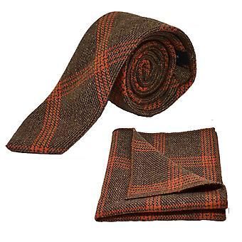 Herbatniki brązowy & pomarańczowy Birdseye wyboru krawat & placu kieszeni zestaw