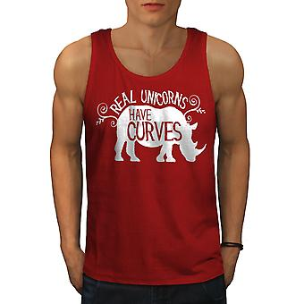 Unicorns Have Curves Men RedTank Top | Wellcoda