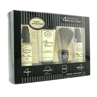 The Art Of Shaving Starter Kit - Unscented: Pre Shave Oil + Shaving Cream + Brush + After Shave Balm - 4pcs