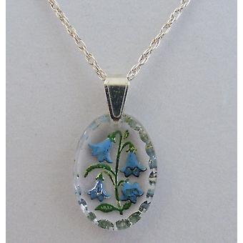 Bluebell hand painted oval crystal pendant