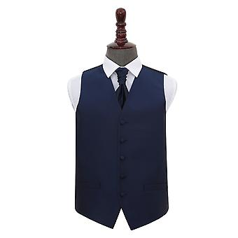 Navy Blue Solid Check Gilet de mariage & Ensemble Cravat