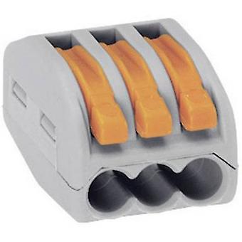 WAGO 222-413 stik klippet fleksibel: 0,08-4 mm² stive: 0,08-2,5 mm² antal stifter: 3 50 computer(e) grå, Orange