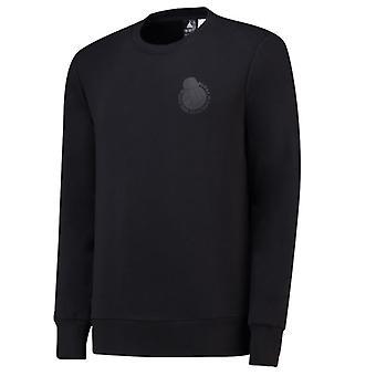 2018-2019 ريال مدريد الرسم أديداس قميص من النوع الثقيل (أسود)