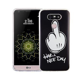 Mobiele telefoon geval voor LG G5 cover case beschermende zak motief slanke siliconen TPU middelvinger