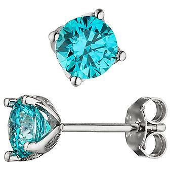 Oorbellen 925 sterling zilver 2 cubic zirconia Turquoise blauw blauw oorbellen