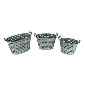 Rustic Metal Oval Olive Buckets with Wood Handles Set of 3