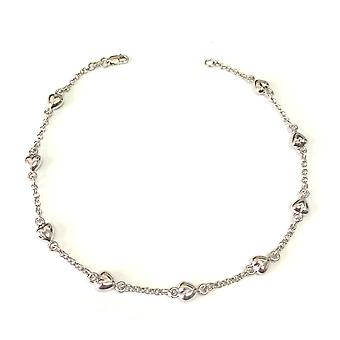 14K White Gold Heart Charms Chain Anklet, 10