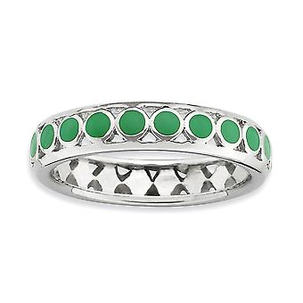 4.5mm 925 Sterling Argent Vert Enamel Rhodium plaqué Expressions taquinables Polished Green Circles Enameled Ring Jewelr