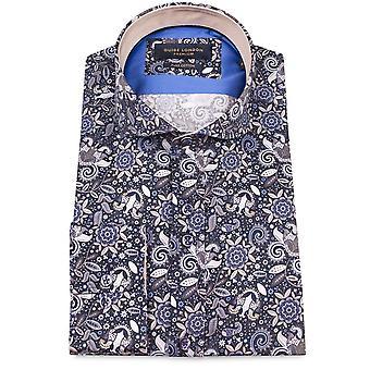Guia Londres da Marinha puro algodão Floral impressão Mens camisa