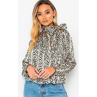 IKRUSH Womens Mandi Tie Neck Print Blouse Shirt