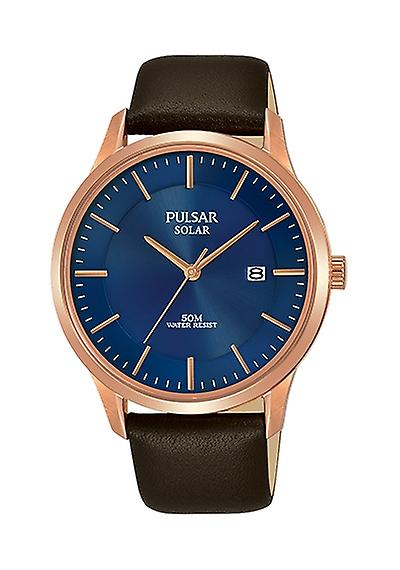 Pulsar Rose Gold Plated Case Brown Leather Strap Unisex Watch PX3164X1 40mm