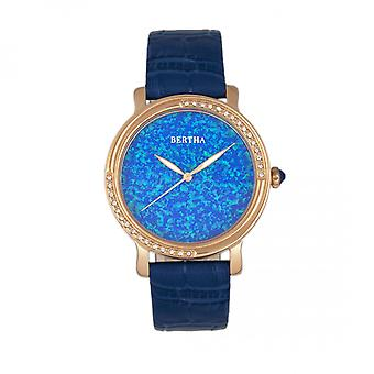 Bertha Courtney Opal Dial Leather-Band Watch - Blue