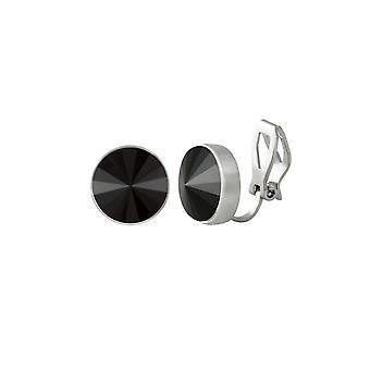 Ewige Sammlung Schatz Jet Schwarz Kristallsilber Ton Stud Clip auf Ohrringe