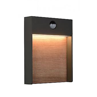 Lucide Jellum Modern Rechteck AluminiumAnthrazit und Holzwandlicht