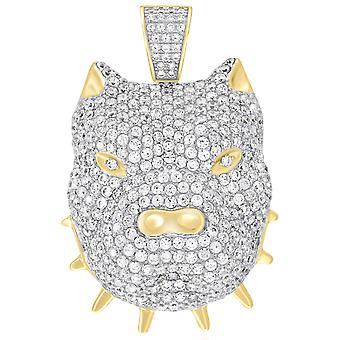 Premium Bling-925 Sterling Silver 3D Bulldog pendant gold