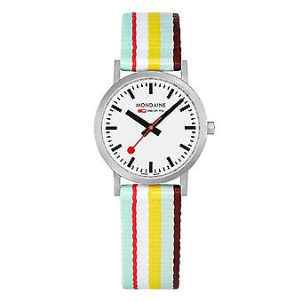 Mondaine Classic Multicolor Textile Strap White Dial Quartz Men-apos;s Watch A658.30323.16SBK 30mm