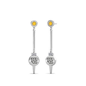 Marquette University Gegraveerd Sterling Silver Diamond Bungelen oorbellen in geel
