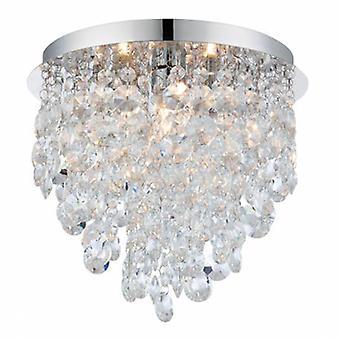 3 lichte badkamer flush plafond licht chroom, helder kristal detail Ip44