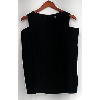 H by Halston Top Ponte V-Neck Cold Shoulder Top Black A296713