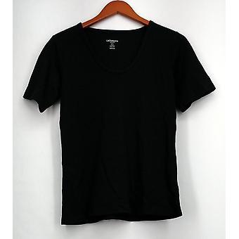 Liz Claiborne York Top Essentials Short Sleeve Rounded V-Neck Black A212403
