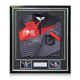 Phil The Power Taylor Signed Darts Shirt 2018. Deluxe Frame