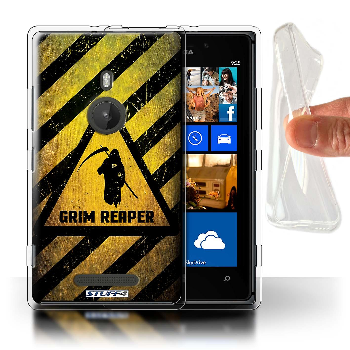 STUFF4 Gel TPU Case/Cover for Nokia Lumia 925/Death/Reaper/Hazard Warning Signs