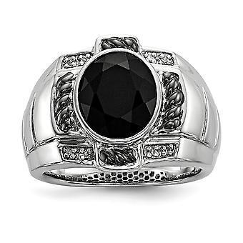 925 Sterling Silver Bezel Gepolijst Prong set Gift Boxed Diamond en gesimuleerde Onyx Oval Black Rhodium vergulde Mens Ring J