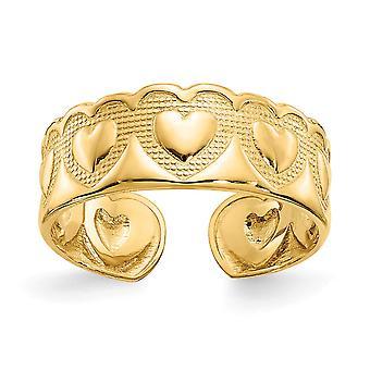 14 k Gelbgold solide strukturiert poliert poliert Liebe Herz Zehe Ring Schmuck Geschenke für Frauen - 1,3 Gramm