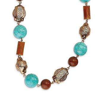 Fancy Lobster Closure Copper tone Aqua and Brown Beads 44inch Necklace Jewelry Gifts for Women