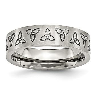 Stainless Steel Brushed Engravable Engraved Trinity Symbol Satin 6mm Band Ring Jewelry Gifts for Women - Ring Size: 6 to