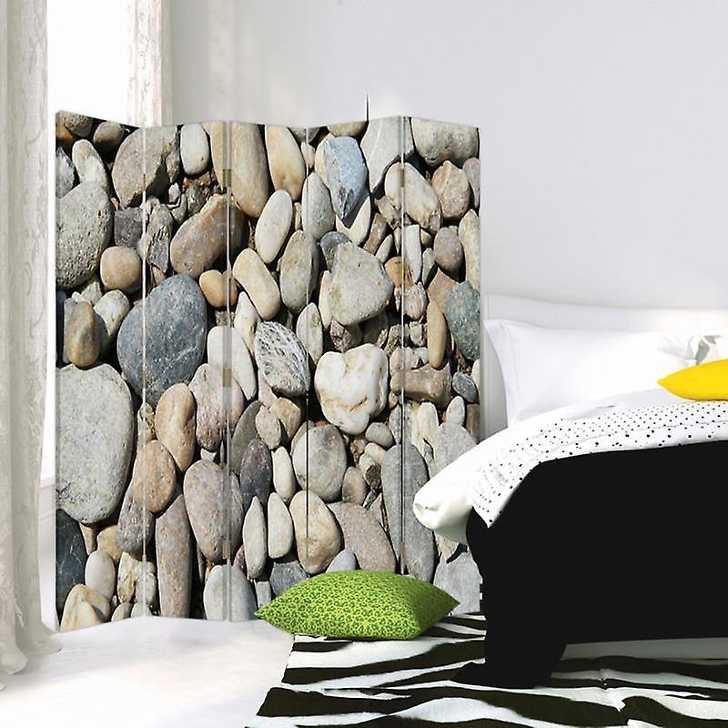 Diviseur de chambre, 5 panneaux, Double-Sided, Toile, Pierres Zen 7