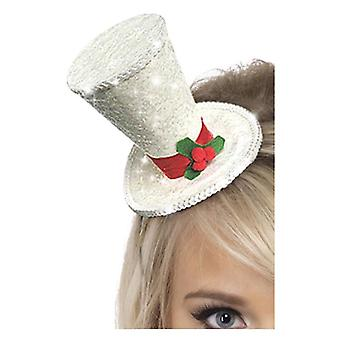 Womens White Glitter Mini Top Hat Stirnband Fancy Dress Zubehör
