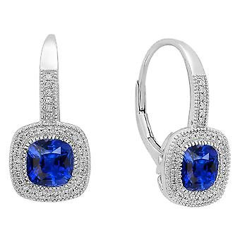 Dazzlingrock Collection 10K Each 6 MM Cushion Lab Created Blue Sapphire & Round Diamond Dangling Drop Earrings, White Gold
