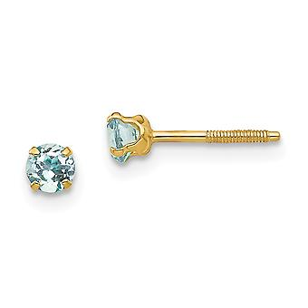 14k Yellow Gold Polished Screw back Post Earrings 3mm Aquamarine for boys or girls Earrings Measures 4x4mm