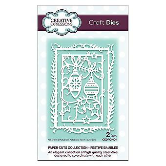 Creative Expressions Craft Dies - Paper Cuts Collection - Festive Baubles