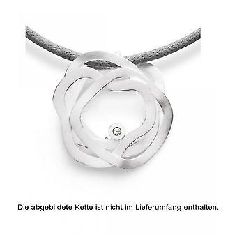 バスティアンインヴェラン - 925/- シルバーペンダントスクラッチマット、ダイヤモンド 0.02 ct - 24090