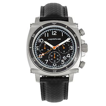 Morphic M83 Series Chronograph Leather-Band Watch w/ Date - Silver/Black